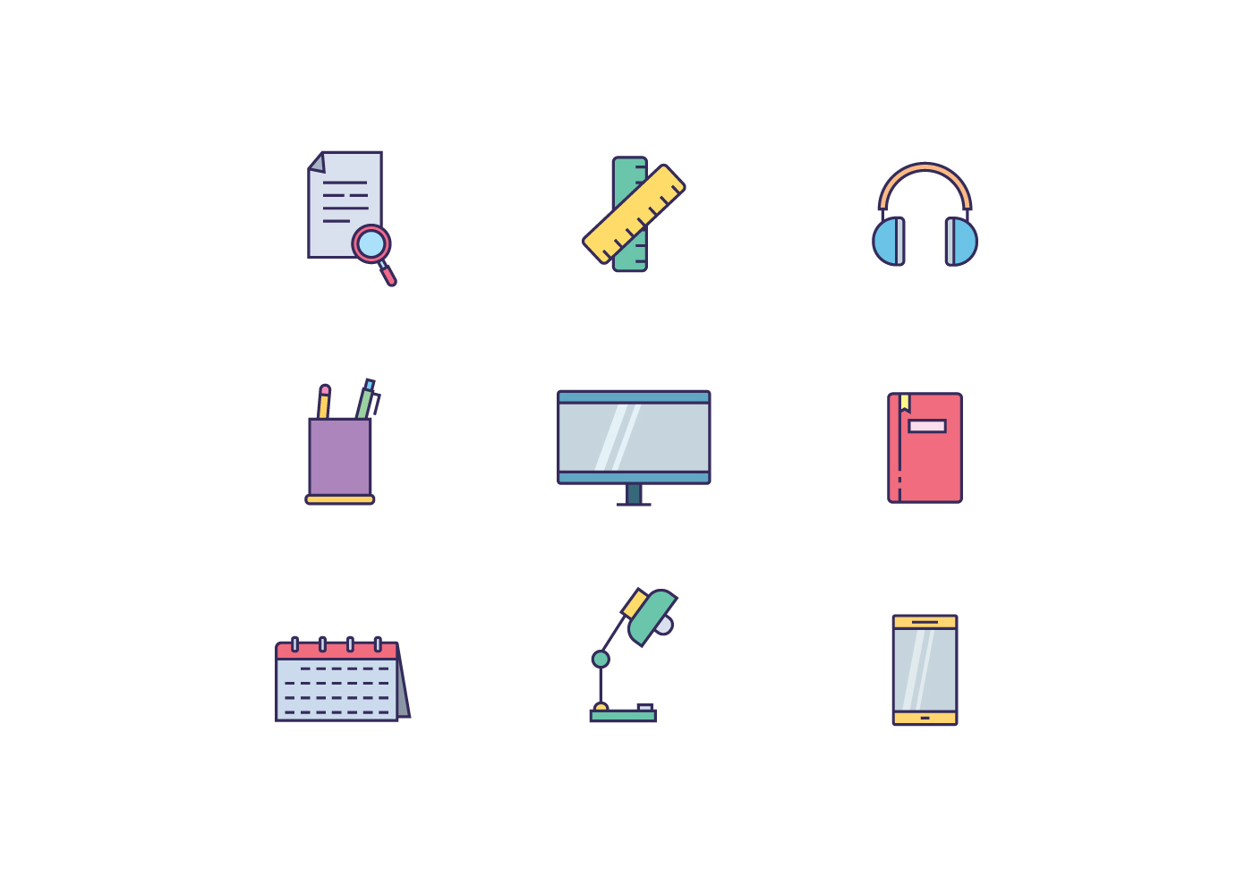 Work Desk Objects Download Free Vector Art Stock