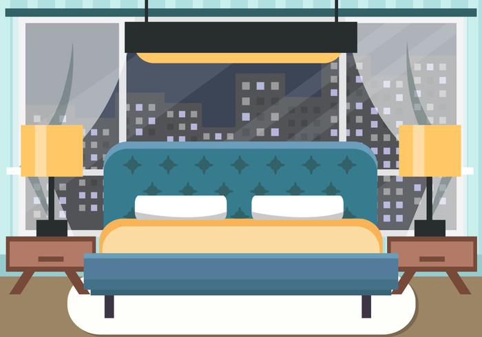 Decorative Bedroom at Night Vector