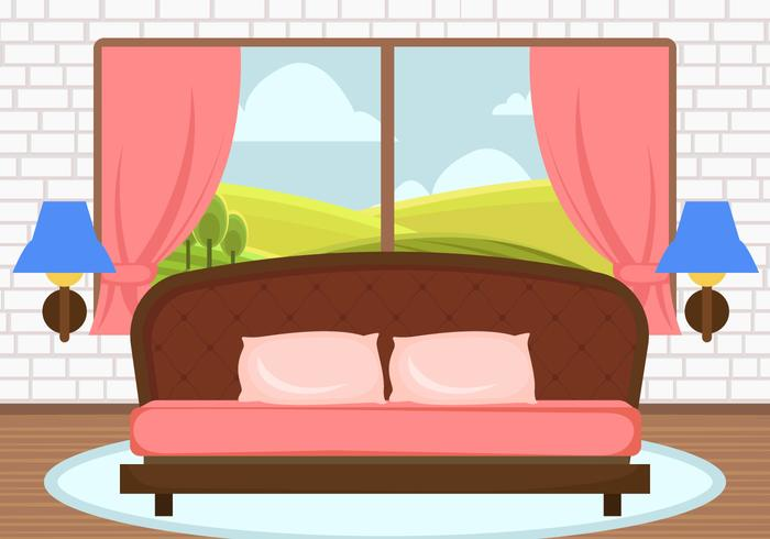 Decorative Pink Bedroom Vector