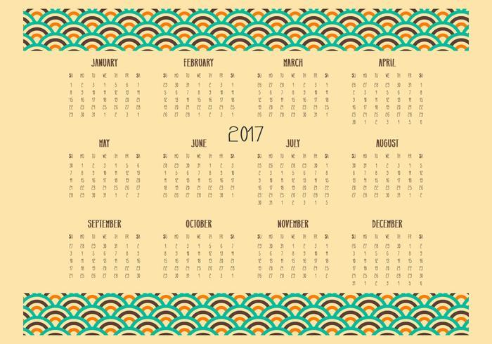 Retro Desktop 2017 Calendar Illustration