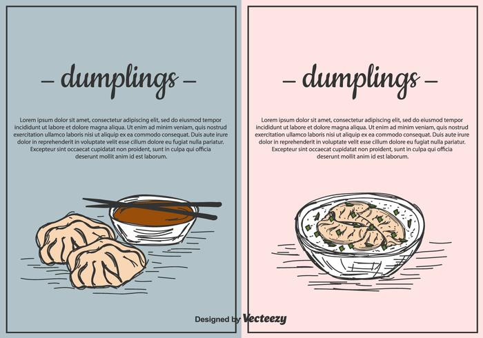 Dumplings Vector Background Set