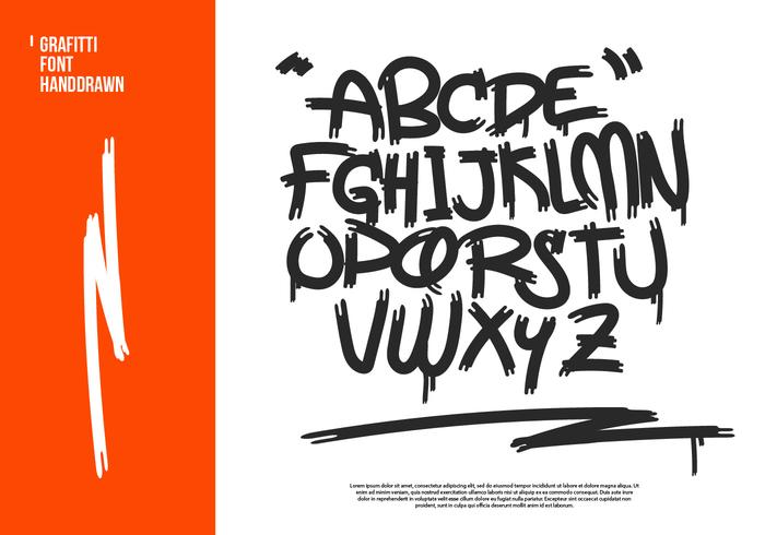 Graffiti Hand-drawn Vector Alphabet