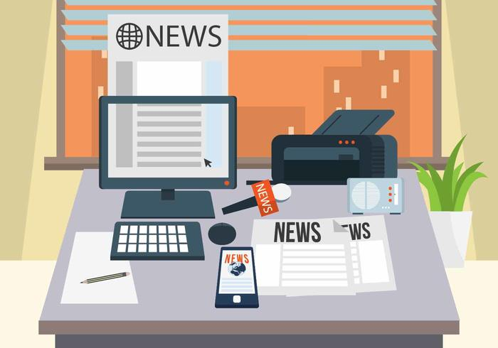 Journalist Desk Vector