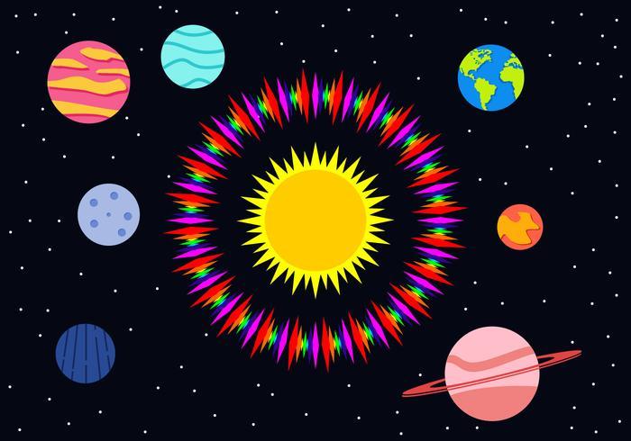 Platte Planeten Gratis Vector