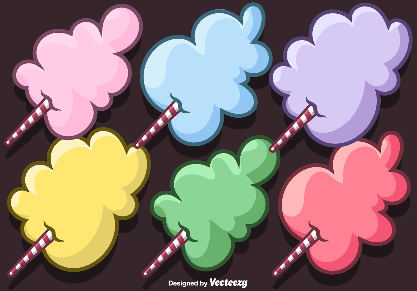 Vector Set Of Cartoon Candy Floss Download Free Vector