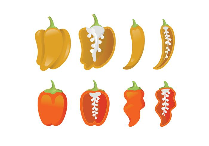 Vector icons of habanero