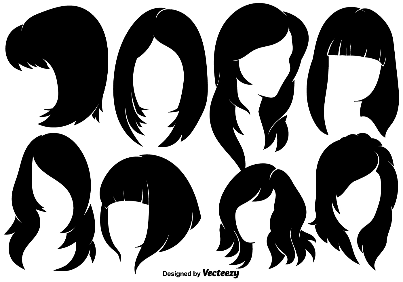 Hairstyle Vector: Beautiful Woman With Hairstyles Silhouettes