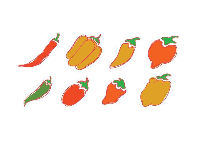 Vector icons of habanero