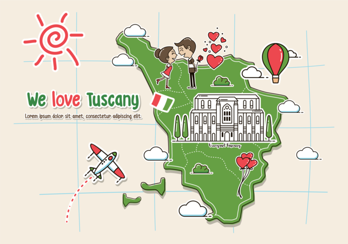 Tuscany Map Illustration