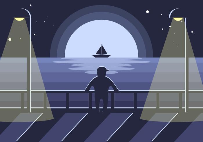 Vector de ilustração da noite de calçada