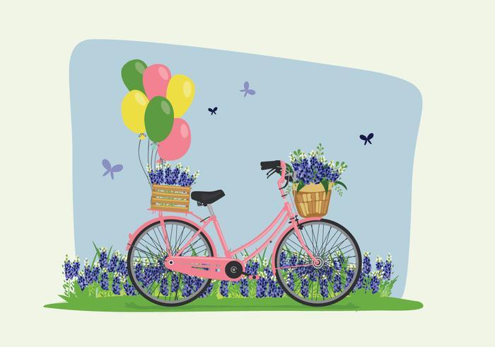 Bike Spring Bluebonnet Flowers Illustration