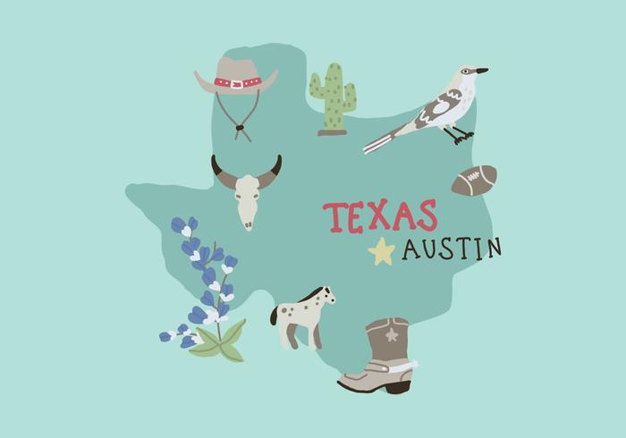 Texas Map With Different Characteristic Elements vector
