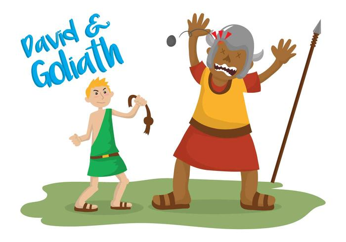 David and goliath vector illustration