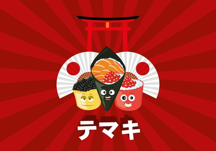 Temaki Cartoon Free Vector