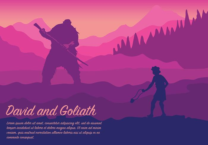David and Goliath Vector Background