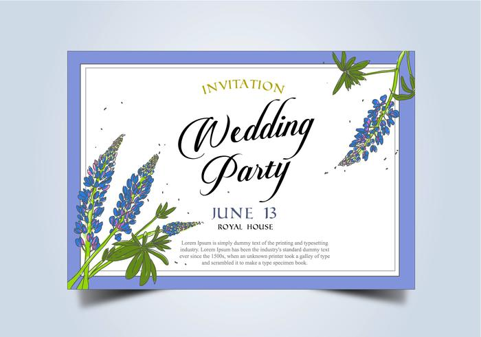 Bluebonnet Flower Frame Wedding Invitation Template Vector