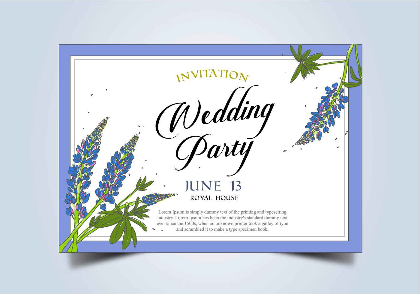 Wedding Invitation Frames: Blue Flowers Free Vector Art