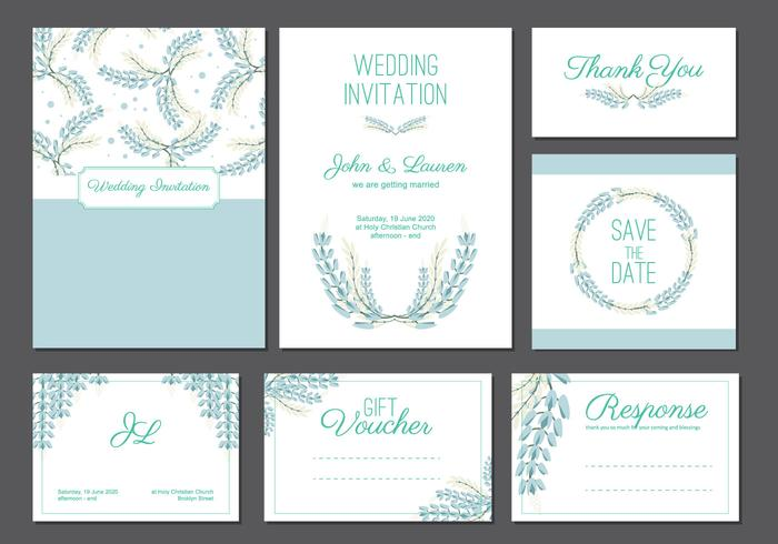 Bluebonnet wedding card template