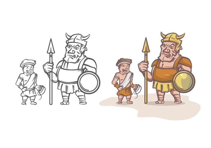 David and Goliath Cartoon Character