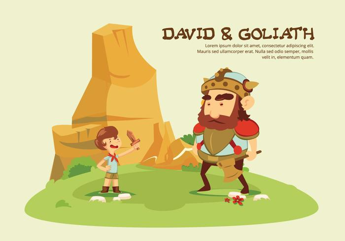 David och Goliath Story tecknad vektor illustration