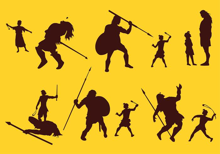 David And Goliath Silhouette Story Free Vector