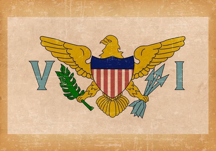 Old Grunge Flag of US Virgin Islands