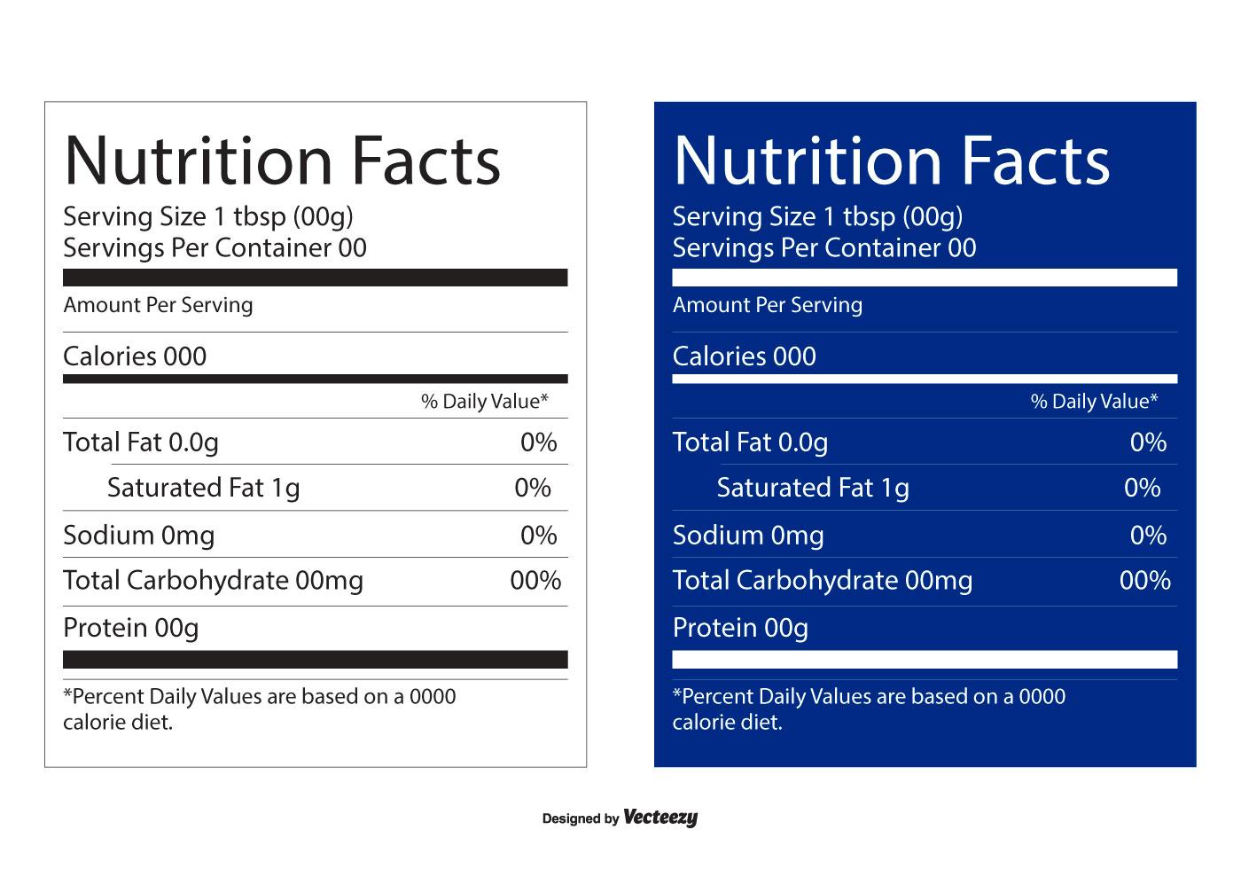 Datos nutricionales Etiquetas editables - Descargue Gráficos y ...