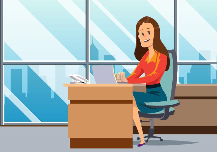 Women Working In Office Vector