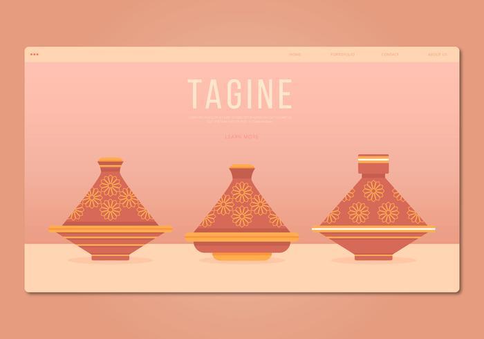Tajine Moroccan Traditional Food Illustration. Web Template.