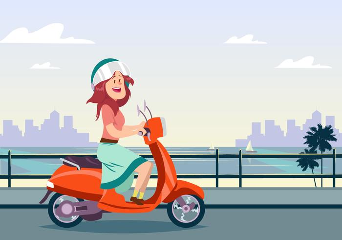 Young Woman Riding A Scooter