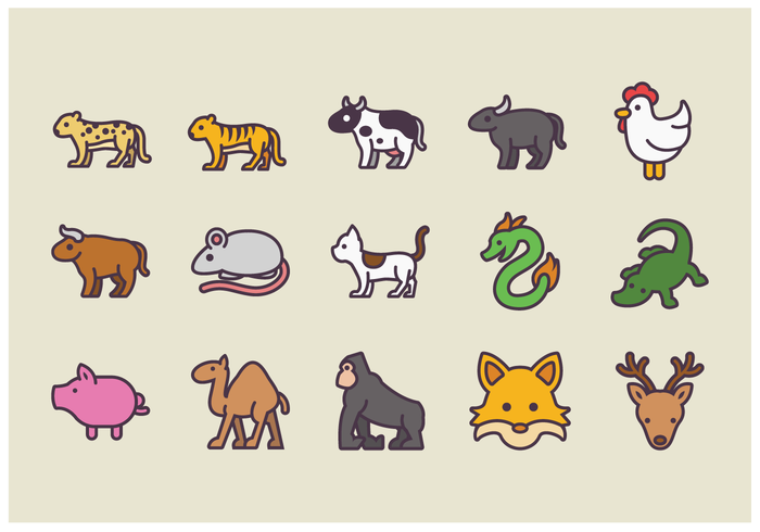 Pack of Animal Icon Vectors