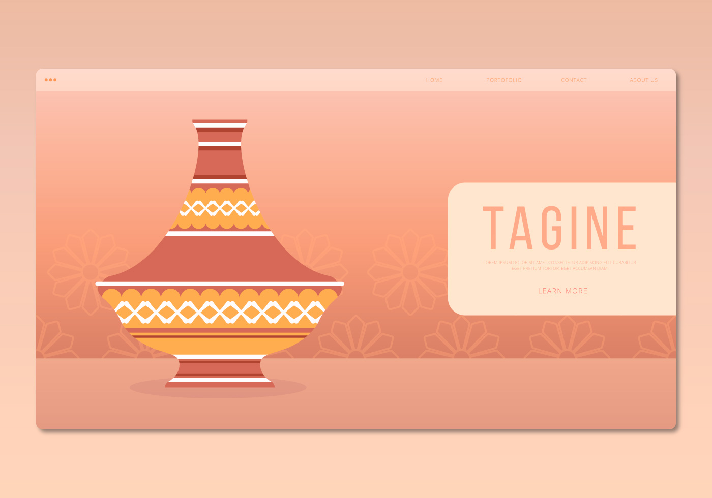 Vector Illustration Web Designs: Tajine Moroccan Traditional Food Illustration. Web