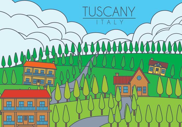 Tuscany landscape vector illustration