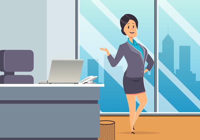 Business Woman At Office Vector