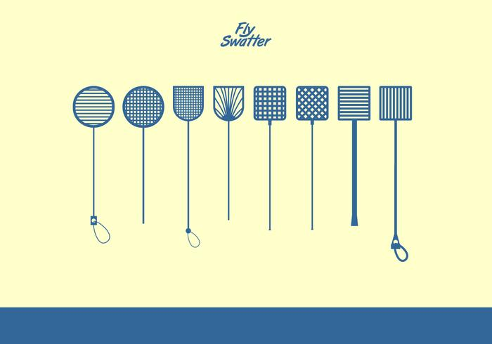 Fly Swatter Blue Icons Free Vector