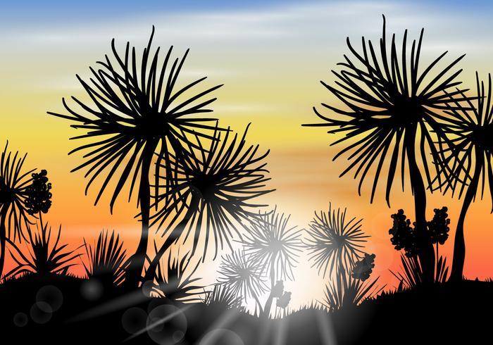 Silhouette Desert Yucca Scene Vector