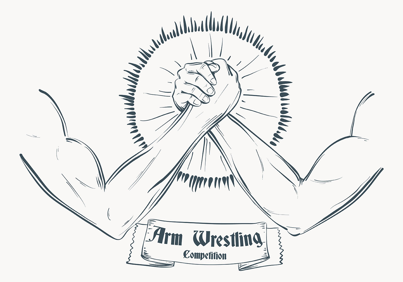 sketched arm wrestling illustration template download