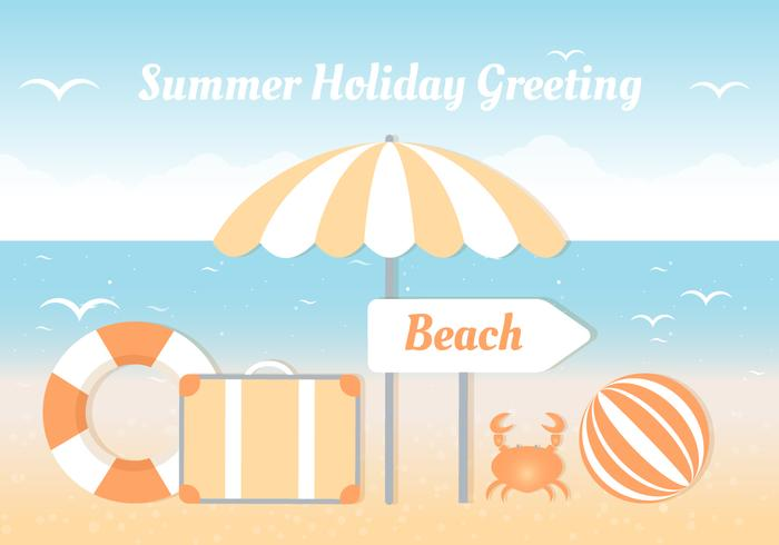 Free Flat Tropical Summer Background vector