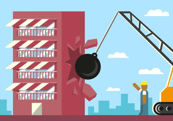 Demolition Building Breaking Ball Illustration Vector