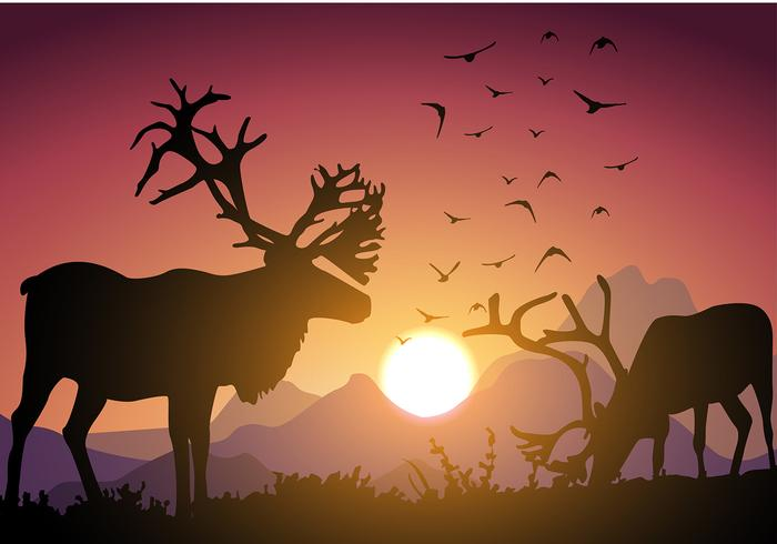Caribou Sunset Free Vector