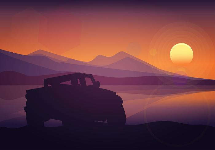 Offroad Silhouette Sunset Free Vector