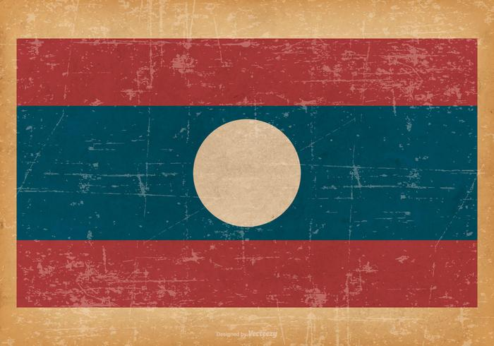 Old Grunge Flag of Laos