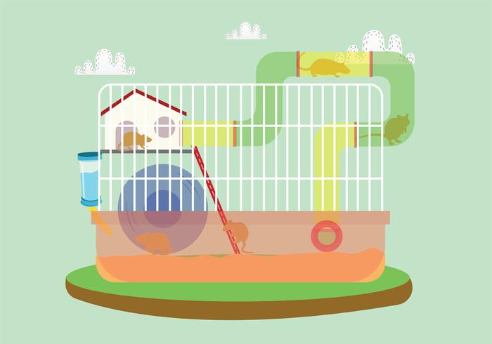 Gerbil in The Cage Vector Art
