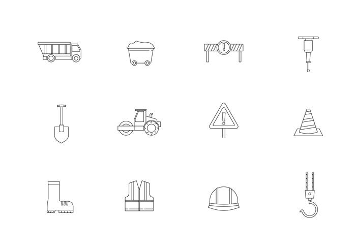 Outline Road Construction Icons