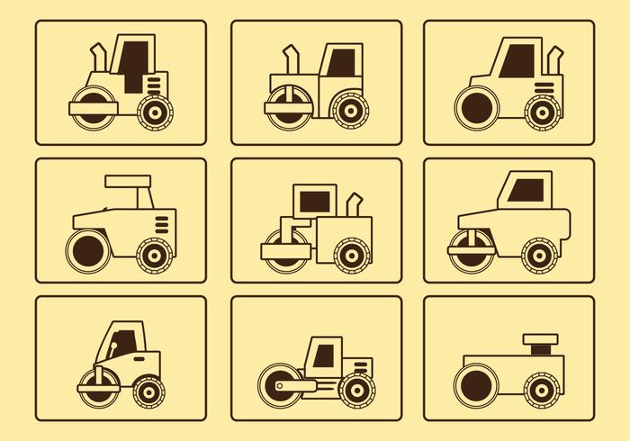 Road Roller Line Icon Set