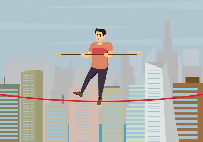 Caminhante da corda bamba sobre a ilustração das construções da cidade