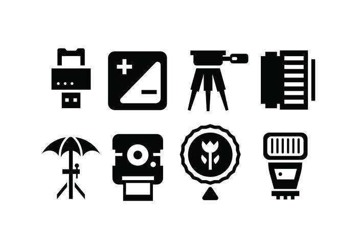 Iconos de accesorios de la cámara vector