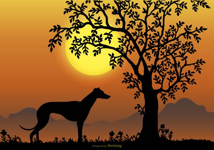 Landscape Scene with Whippet Breed Silhouette