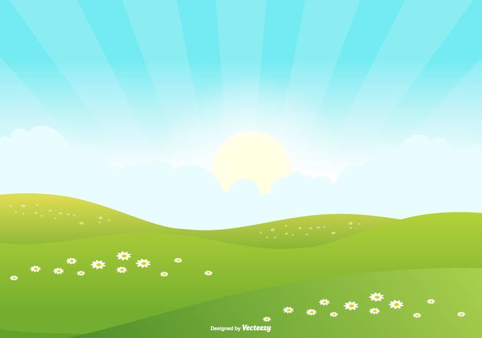Cute Landscape Scene Background vector
