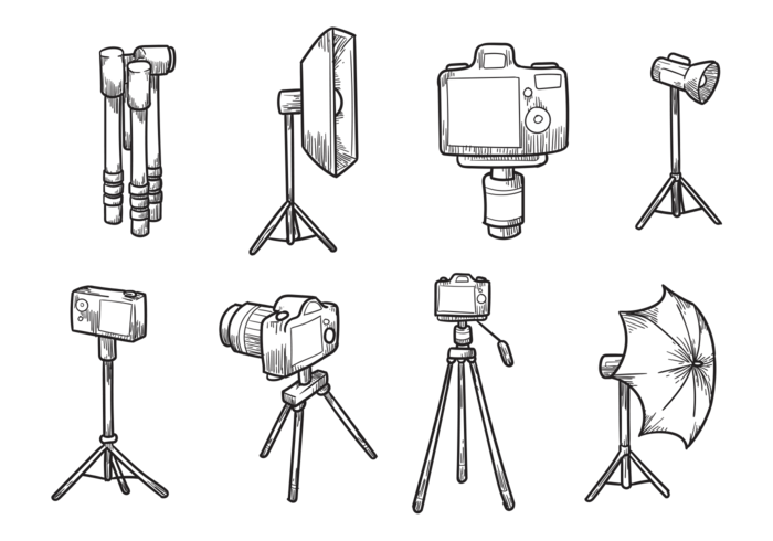 Free Hand Drawn Camera Tripod Vectors